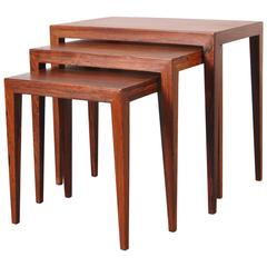 Nesting Tables by Severin Hansen for Haslev Mobelsnedkeri Denmark, circa 1960