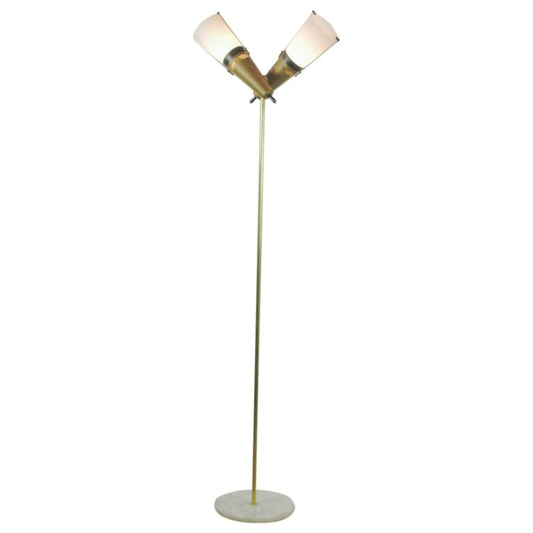 Italian Midcentury Brass, Glass and Marble Floorlamp in the Style of Stilnovo For Sale