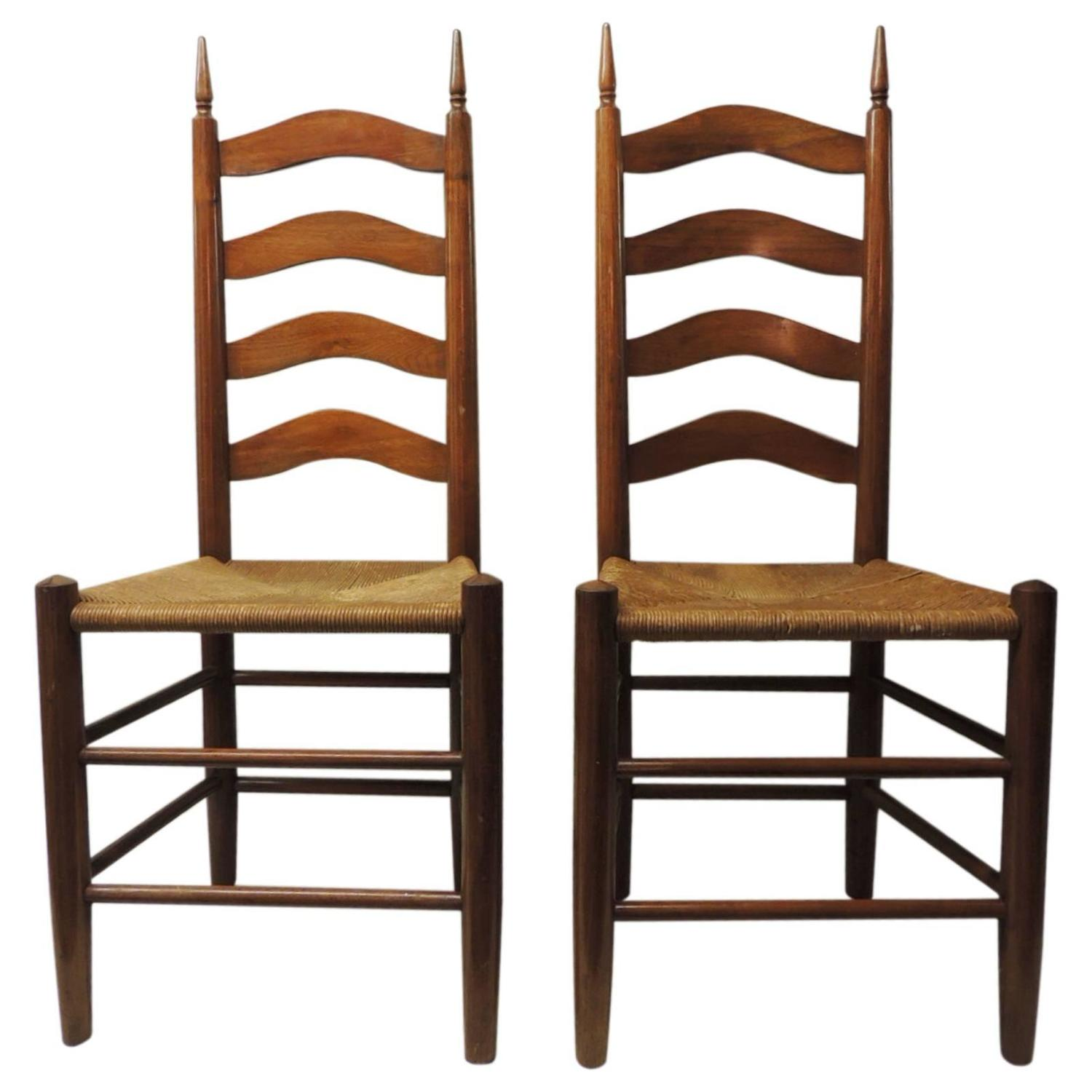 pair of french country side chairs with rush seats at 1stdibs