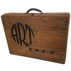 "Folk Art Sign Painters Box with ""Art Dept."" Hand-Painted on Front"