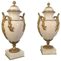 Pair of White Marble Jars with Gold Gilded Bronze Mounts, 19th Century