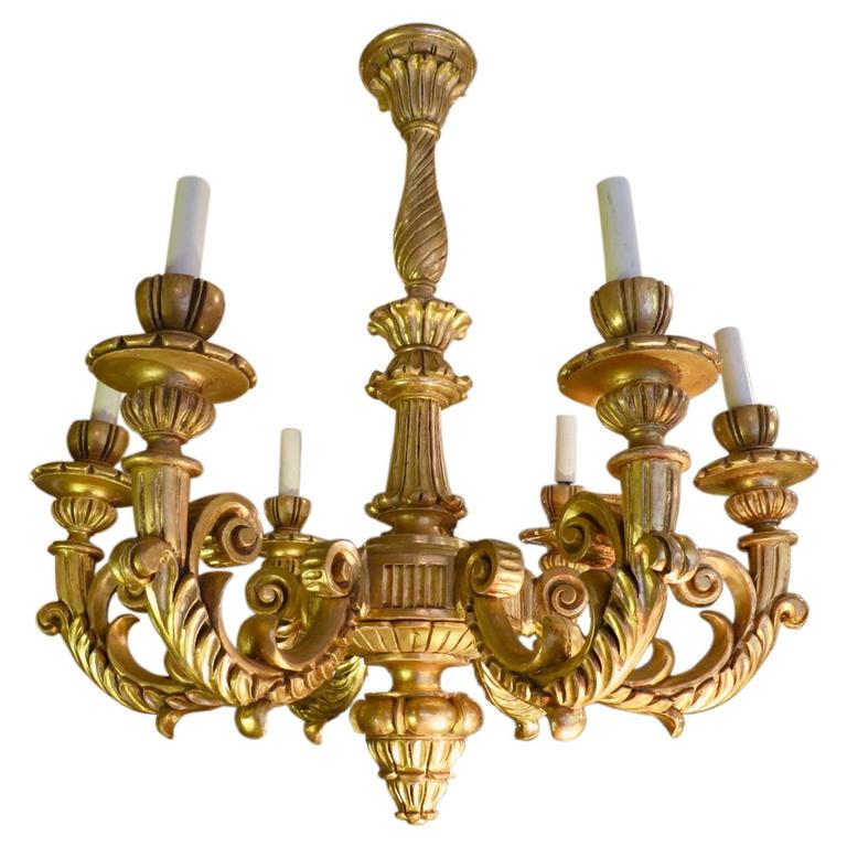 19th century giltwood rococo chandelier for sale at 1stdibs 19th century giltwood rococo chandelier for sale mozeypictures Gallery