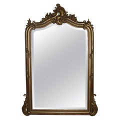 19 the century  French Louis Quinze gold gilt mirror with faceted glass