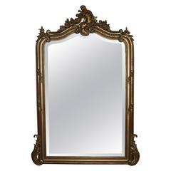 19th Century Louis Quinze Gold Gilded Mirror