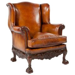Superb Quality 19th Century Leather Wing Armchair