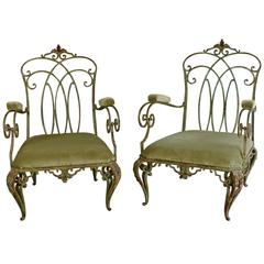 Pair of Large 1940s Wrought Iron Armchairs in the Style of Jean-Charles Moreux