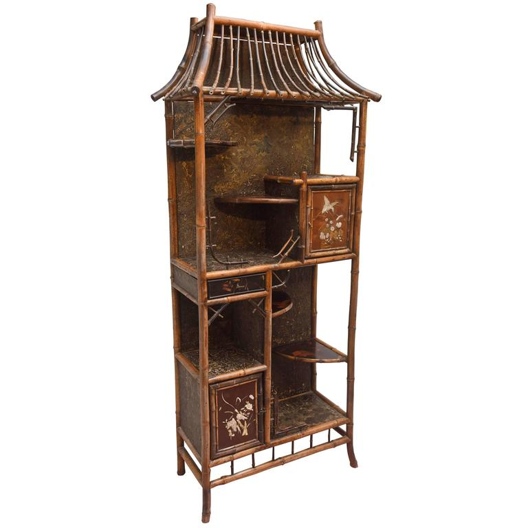 Fine 19th Century Chinoiserie Pagoda form Bamboo Display Cabinet