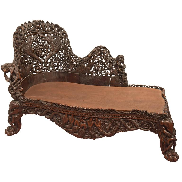 Rare and important anglo indian carved palace chaise for for Carved wooden chaise