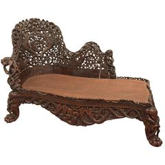 Rare and Important Anglo-Indian Carved Palace Chaise