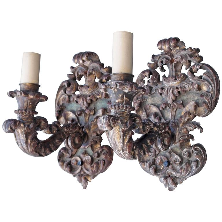 Pair of Rococo Silver Gilt and Painted Wall Sconces
