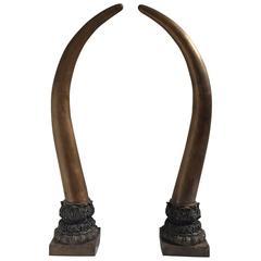 Pair of Bronze Faux Elephant Tusks