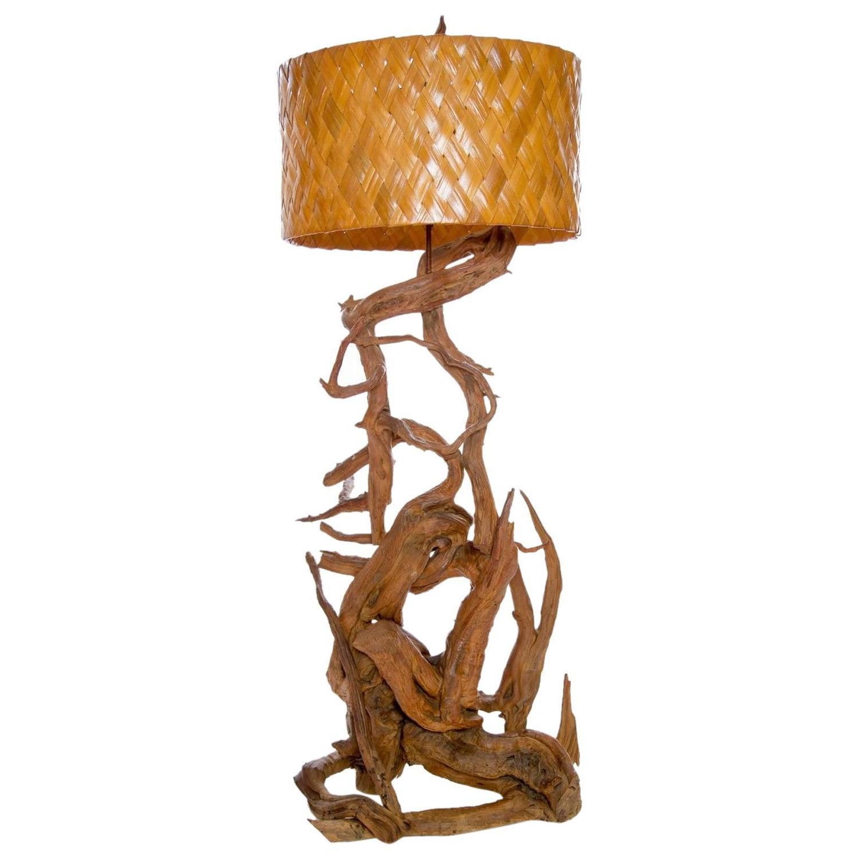 large gnarled driftwood floor lamp for sale at 1stdibs. Black Bedroom Furniture Sets. Home Design Ideas