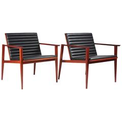 Pair of Custom, Contemporary, Mahogany and Leather Occasional Chairs