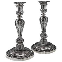 19th Century French Solid Silver Pair of Large Candlesticks, Tiffany, circa 1890