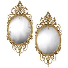 Pair of 19th Century English Giltwood Mirrors in the Neoclassical Style