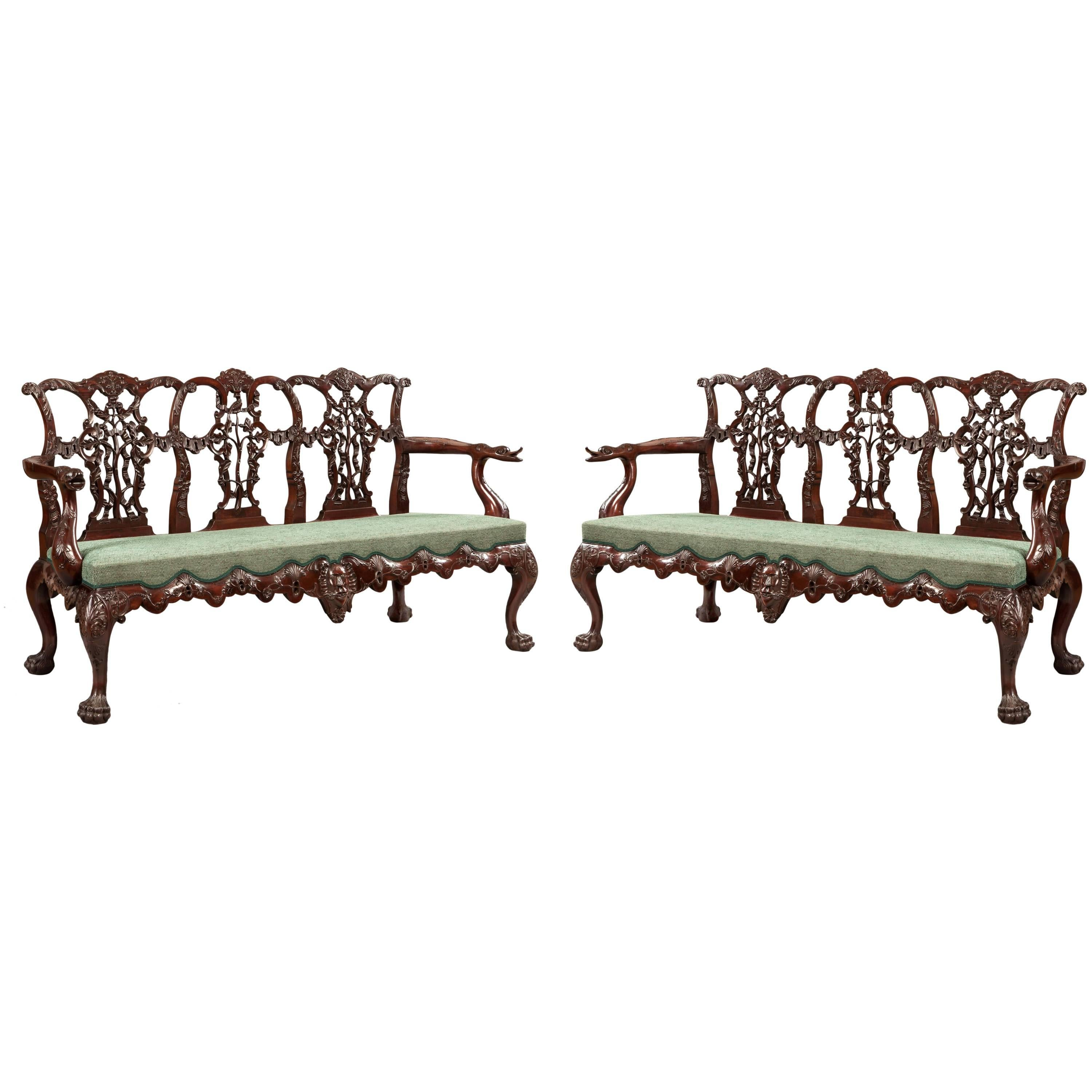 Pair of Antique Carved Mahogany Settee's in the Chippendale Manner