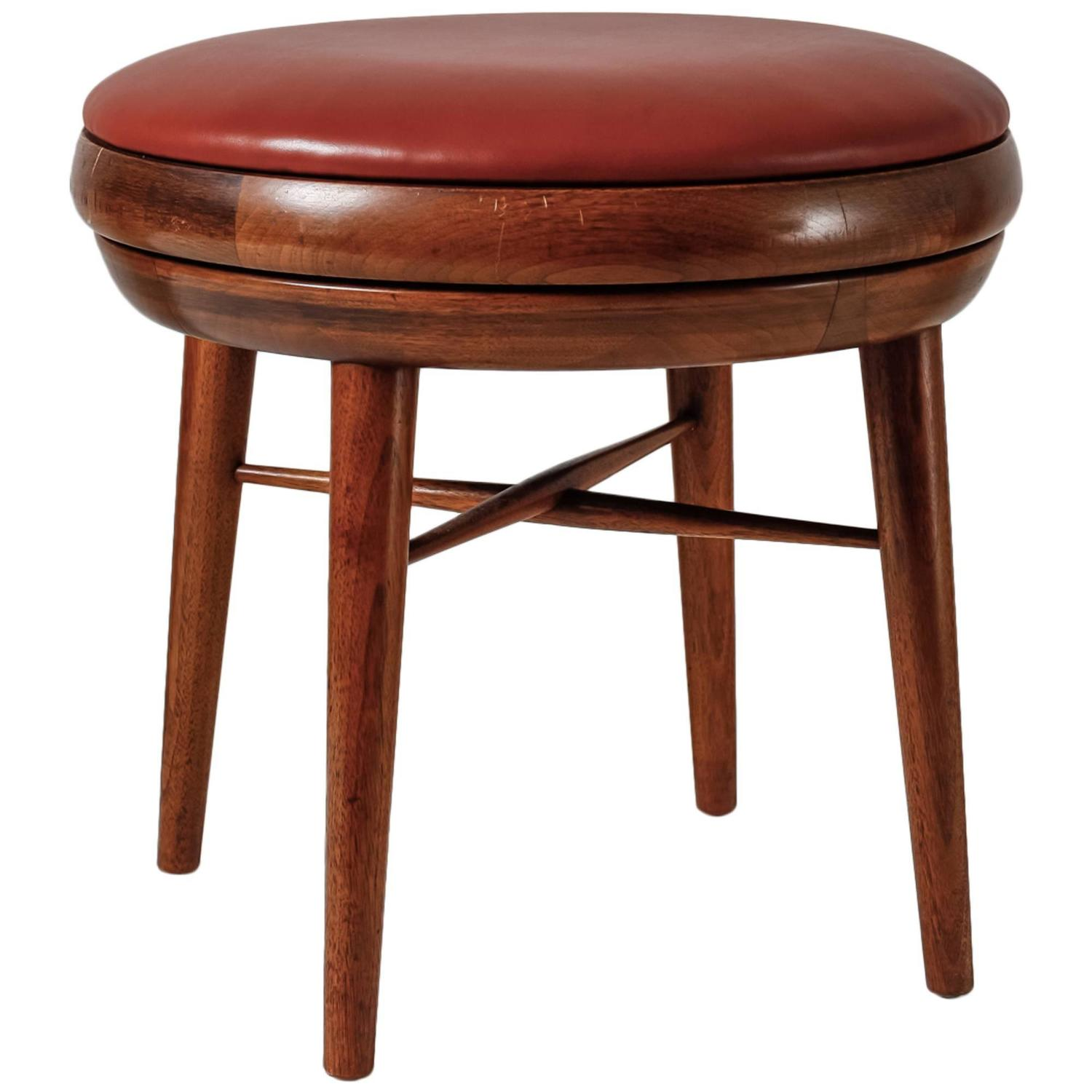 Leather and Walnut Swivel Stool USA 1950s at 1stdibs : 1353030z from www.1stdibs.com size 1500 x 1500 jpeg 101kB