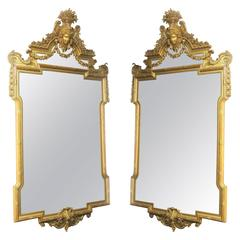Fine Pair of Large Late 19th Century Hand-Carved Giltwood Mirrors
