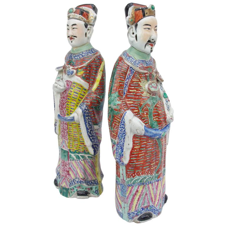 Pair of Large and Unusual Chinese Diplomats in Polychrome Faience, circa 1900 For Sale