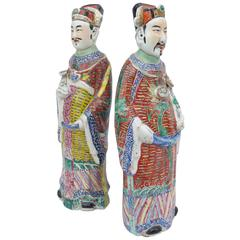 Pair of Large and Unusual Chinese Diplomats in Polychrome Faience, circa 1900