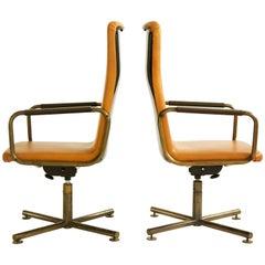 Pair of C&B Italia Custom High Back Armchairs