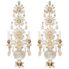 A Pair of Bagues Style 24-Karat Gold Leaf Metal Two-Light Sconces