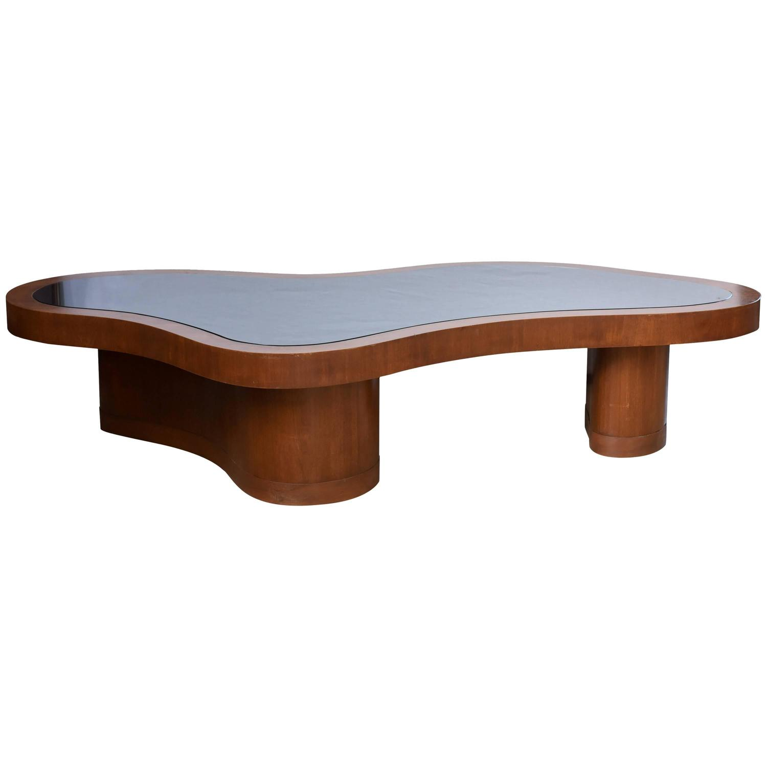 American Modern Mahogany And Black Glass Low Table Manner Of Robsjohn Gibbing At 1stdibs