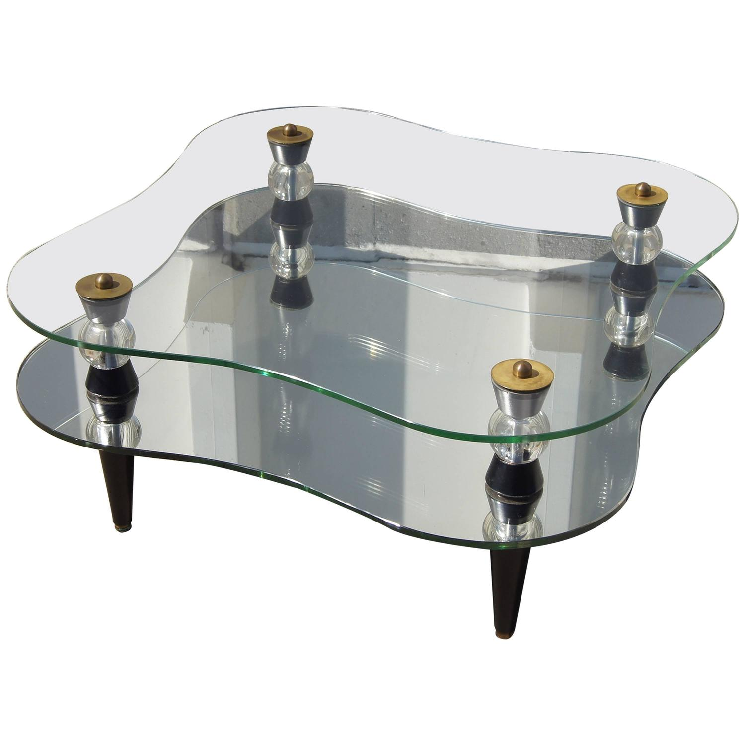 Art Deco Mirror And Glass Coffee Table At 1stdibs