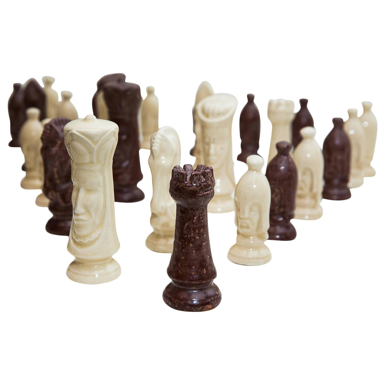 Post war neo gothic chess set for sale at 1stdibs - Ceramic chess sets for sale ...