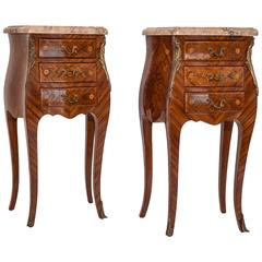 Pair of French Marquetry Inlaid Louis XV Nightstands