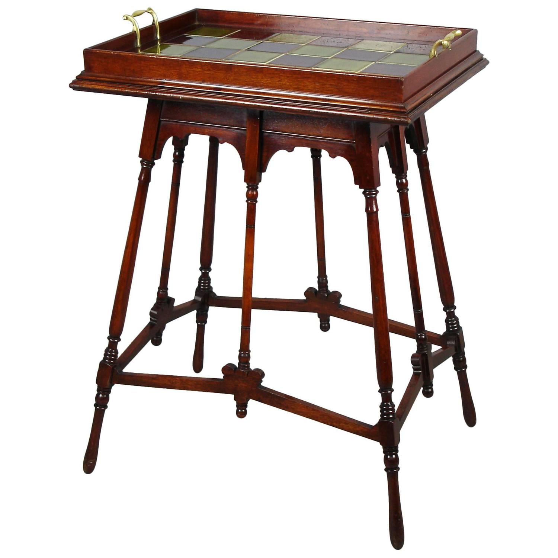 Aesthetic Movement Mahogany Tea Table And Its Tray At 1stdibs