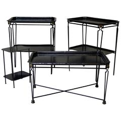 Four Black Painted Metal Tray Tables in the 1940s Style, France, circa 1960s