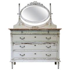 Louis XVI Style Chest of Drawers with Mirror, France, circa 1920s