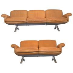 Matching Pair of Vintage de Sede DS 31 Sofa and Loveseat, 1970s