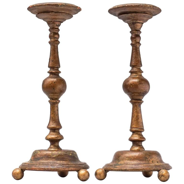 Set of 18th c. Guilded Wooden Candlesticks