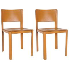 Matteo Grassi Set of Two Leather Side Chairs