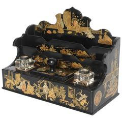 19th Century Chinoiserie Paper Mache Letter Rack or Inkstand