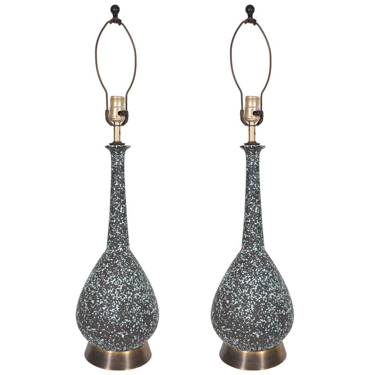 Pair of Mid-Century Lamps with Elongated Necks in Black and Aqua Volcanic Glaze