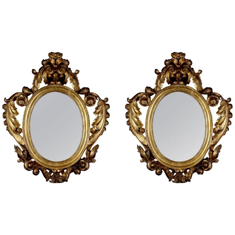 Pair of Italian Giltwood Mirrors, circa 1790 For Sale