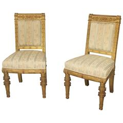 Pair of Late 19th Century Giltwood Chairs