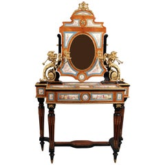 Beautiful Late 19th Century Gilt Bronze and Sevres Style Dressing Table