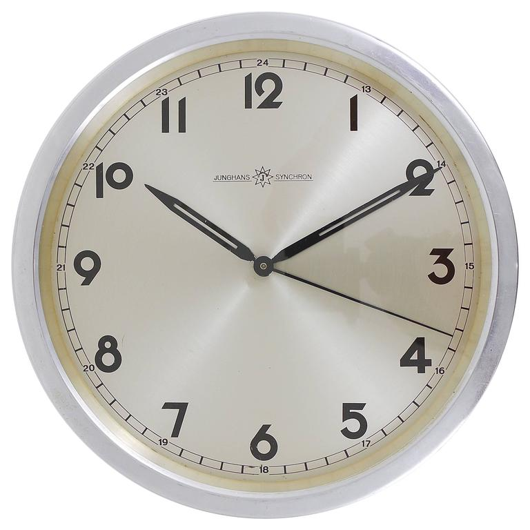 Junghans Synchron Modernist Wall Clock Germany 1950s At