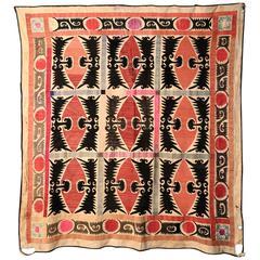 Uzbekistan Suzani Embroidery, circa 1890
