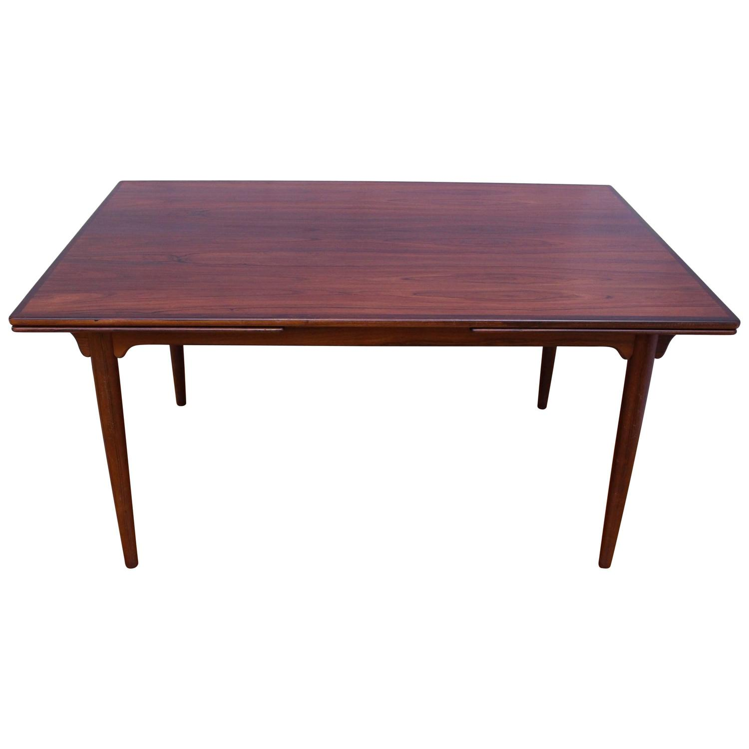 rectangular extendable rosewood dining table by gunni omann for omann