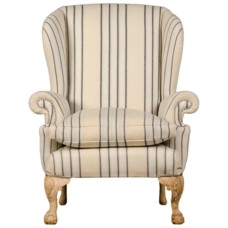 Chippendale Style Pale Mahogany Antique English Wing Chair, circa 1880