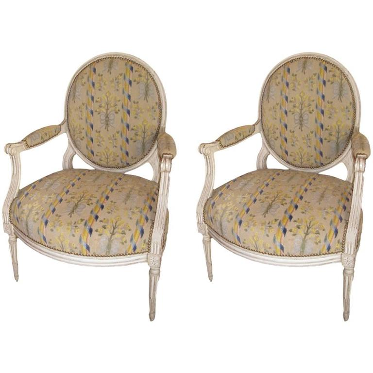 Pair of French Armchairs, Louis XVI For Sale