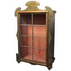 Painted Italian Vitrine Cabinet with Leaded Glass Door, circa 1790-1810