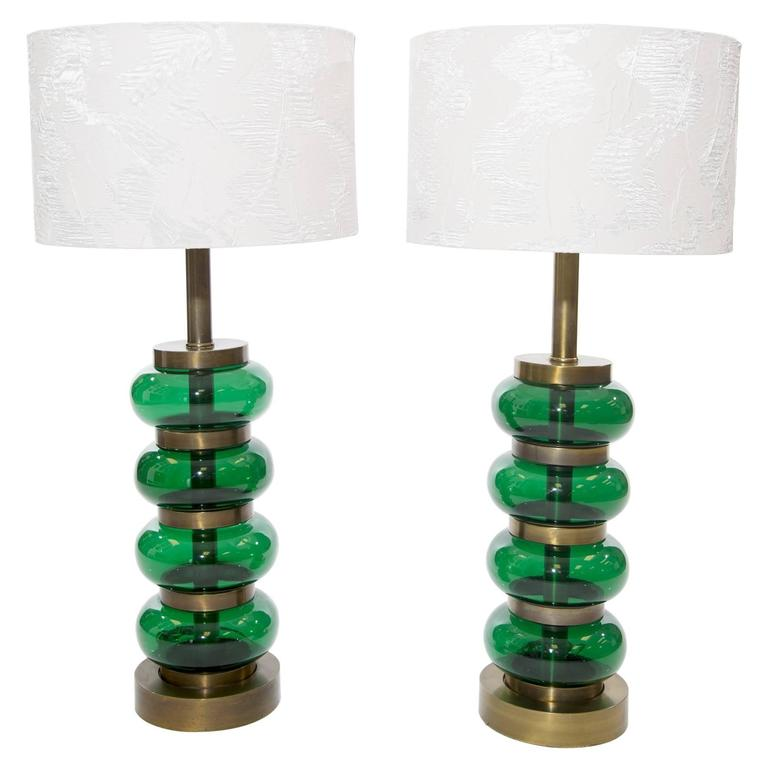 Large Pair of Brass and Glass Orb Lamps by Paul Hanson  1
