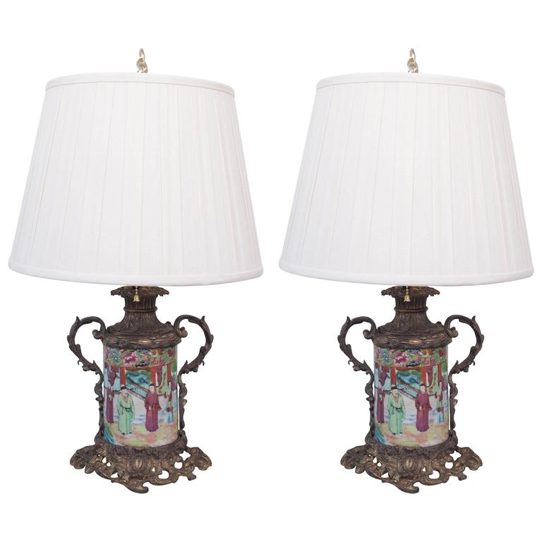 Pair of Rose Medallion Bronze Mounted Carcel Lamps