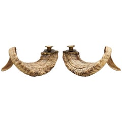 20th Century Set of Large Mouflon Bighorn Rams Horn Candleholders